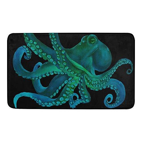 CUXWEOT Indoor Outdoor Doormat Non-Slip Backing Ultra Absorbent Mud Blue Watercolor Octopus Door Mat Home Office Decorative Entry Rug Garden Kitchen Mats 30 x18 Inch