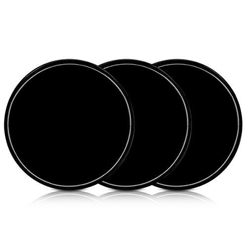 kwmobile 3X Pastille adhésive Universelle - Vignette Gel Autocollant Double-Face antidérapant Silicone Noir - Support pour Smartphone navigateur GPS