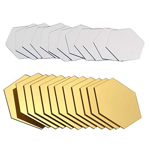 Contiman 12 piezas hexagonales extraíbles impermeables autoadhesivas espejo pegatinas hogar baño cocina pared pegatinas