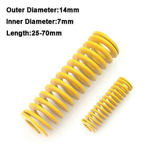 NO LOGO L-Yune, 2ST Gelb Lange Leichte Belastung Stamping Kompressions-Form des Frühling Außen-Ø 14mm Innen-Ø 7 mm Länge 25-70mm (Größe : 14 x 7 x 55mm)