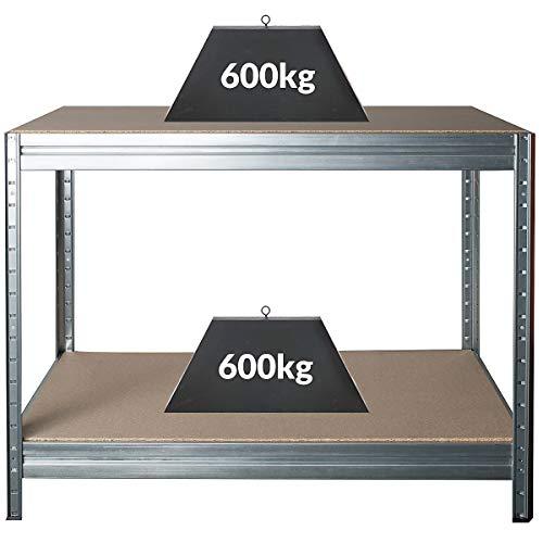 Höhenverstellbare Werkbank | HxBxT 870 x 1200 x 600 mm | Tiefe 60 cm | Traglast 600 kg | Werktisch Arbeitstisch Steckmontage Stahltisch | Silber