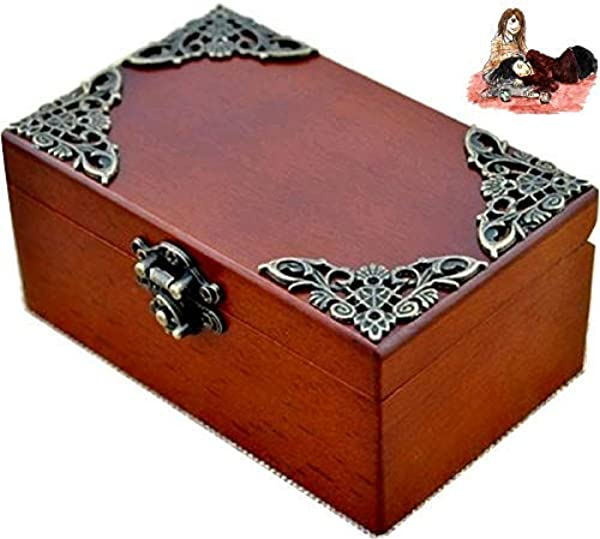 Anakin Jerry Vintage Wood Rectangle Jewelry Wind Up Music Box Love Me Tender Theme Soundtrack