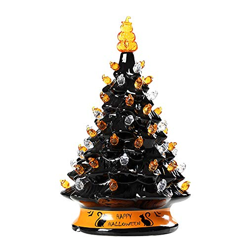 Glowing Halloween Black Ceramic Pumpkin Lantern Christmas Ornament Halloween Decorative Home Decor Ornaments Party Decor Gifts
