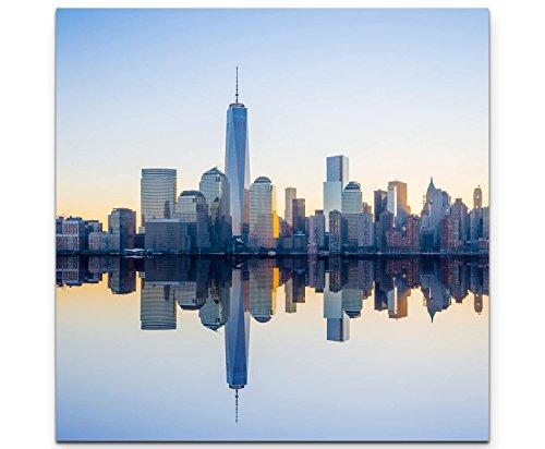 Paul Sinus Art Leinwandbilder | Bilder Leinwand 90x90cm New Yorker Skyline Abend