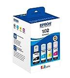 Epson 102 CMJN BOUTEILLE ECOTANK EcoTank 4-colour Multipack, Inchiostri originali dye e a pigmenti a 4 colori, Nero, L