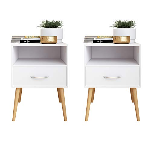 Beliwin Bedside Table One Drawer Storage Wood Small Side Table End Table (white-2)