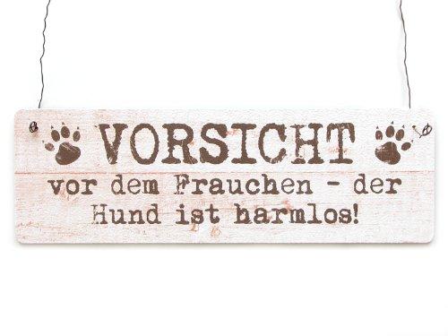 Interluxe Shabby Vintage Schild Dekoschild Türschild Vorsicht VOR DEM Frauchen DER Hund IST HARMLOS
