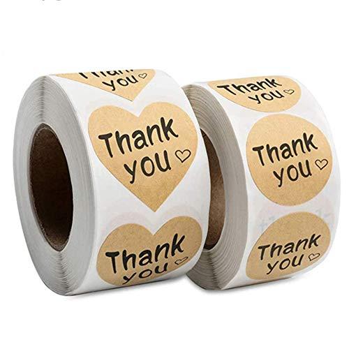 2 Rolls 1000pcs Pegatinas de Thank You Etiquetas Papel Kraft con Corazones...