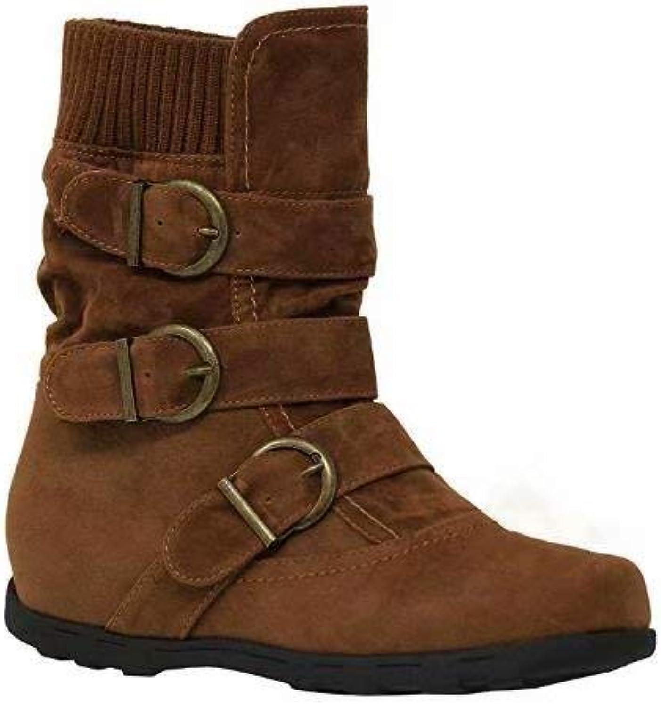 KVINNORS mocka mocka mocka Mid Calf stövlar Varm Zipper Ankle Booslipss Buckle Strappy Winter stövlar  mode galleria