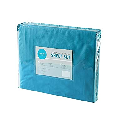 Comfort Spaces - Hypoallergenic Microfiber Sheet Set - 6 Piece - Queen Size- Wrinkle, Fade, Stain Resistant - Teal - Includes flat sheet, fitted sheet and 4 pillow cases