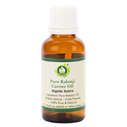 Olio Kalonji Nigella Sativa per la crescita dei capelli, puro olio Kalonji, 100% naturale, pressato a freddo, prodotto da R V Essential