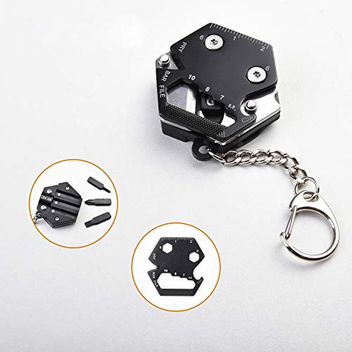 Magstone Multitool keychains Hexagon shape Stainless Steel Pocket Wrench Multitool Knife Mini Ruler Cool Keychain Multifunctional Screwdriver Wire Cutter Camping Survival Tools Gadgets for Man