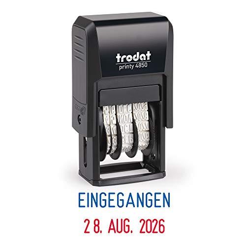 Trodat Printy 4850/L1 Datumsstempel mit Text EINGEGANGEN, Selbstfärber, Abdruckfarbe blau und rot