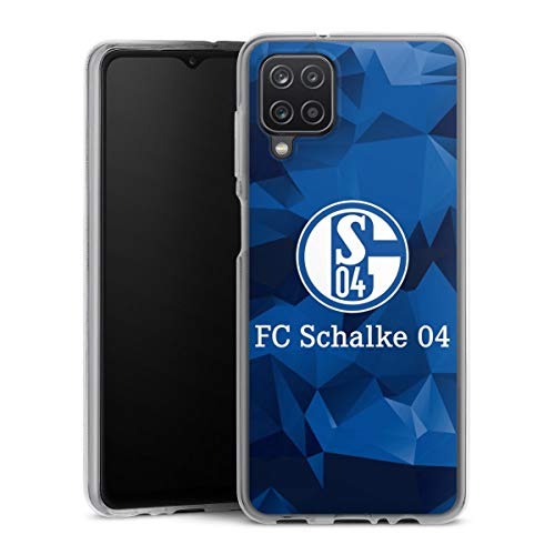 DeinDesign Silikon Hülle kompatibel mit Samsung Galaxy A12 Case transparent Handyhülle FC Schalke 04 Muster Offizielles Lizenzprodukt