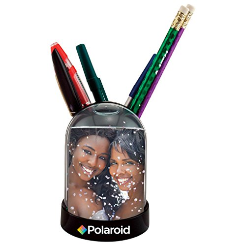"""Polaroid Snow Globe & Pen/Pencil Holder Photo Frame - Display For Your 2x3"""", Colorful"""