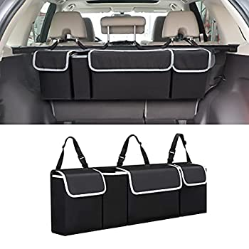 Car Trunk Organizer and Storage Backseat Hanging Organizer for SUV Truck MPV Waterproof Collapsible Cargo Storage Bag with 4 Pockets Car Interior Accessories for Men and Women