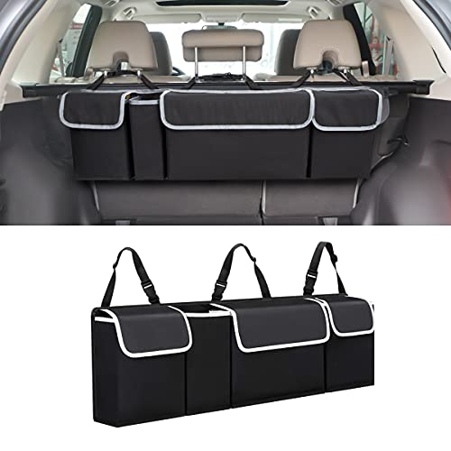 Car Trunk Organizer and Storage, Backseat Hanging Organizer for SUV, Truck, MPV, Waterproof, Collapsible Cargo Storage Bag with 4 Pockets, Car Interior Accessories for Men and Women