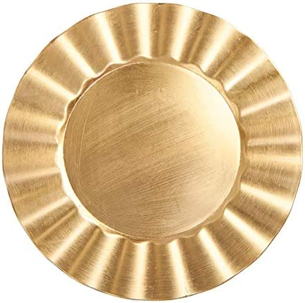 Gold Round Fan Edge Miami Mall Charger Elegant Plate pieces 3