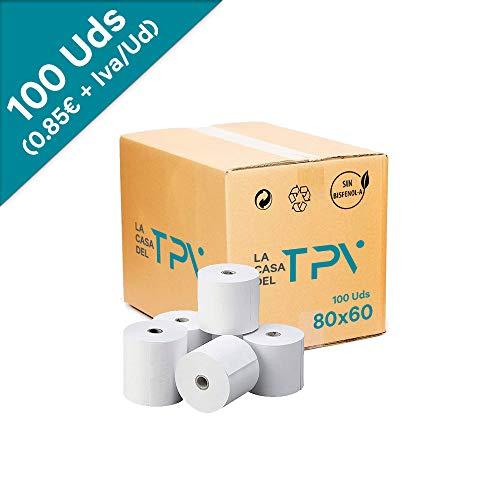 Caja de 100 rollo de papel térmico 80 x 60 mm. +/- 60 m. Excelente calidad de papel.Sin biefenol-A, compatible con todas las impresoras térmicas. Unidad 0.85 + IVA