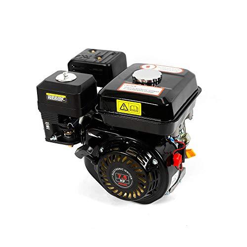 Motor de gasolina, motor de kart, 7,5 CV, 25°, un cilindro inclinado, 4 tiempos, OHV, eje horizontal, refrigeración por aire reforzada, ZT210 (negro)