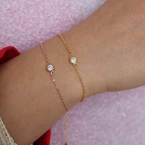 XKMY Pulsera para mujer con diseño de piedra simple de 4 mm, bisel de circonita cúbica delicada y delicada, pulsera de plata 925 (color metal: color oro rosa)