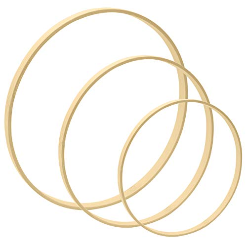 Worown 3pcs 3 Sizes (6, 8 & 10 Inch) Wooden Bamboo Floral Hoops Wreath Rings for Making Wedding Wreath Decor and Wall Hanging Craft