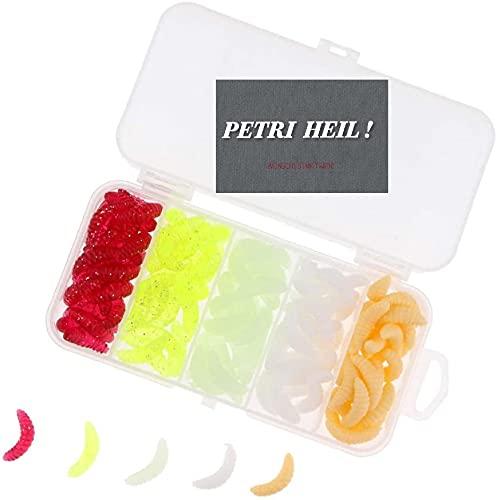 Set: 100 Stück Kunstmaden 5 teilweise .selbstleuchtend + gratis Petri Heil! Aufkleber
