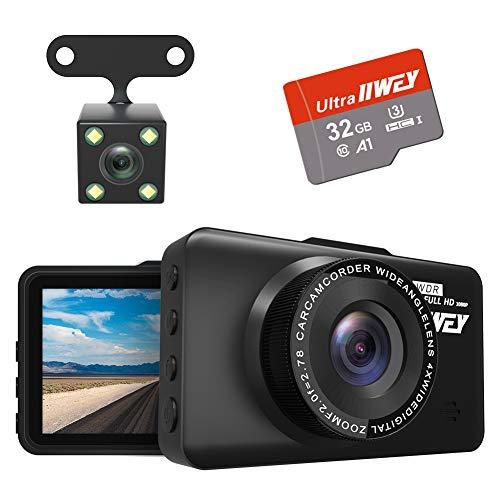 Dash Cam Front- und Rückkamera FHD 1080P mit Nachtsicht und SD-Karte inklusive, 7,6 cm IPS-Bildschirm, Dashcam für Autos, 170° Weitwinkel-Kamera DVR Bewegungserkennung Parkmonitor G-Sensor HDR