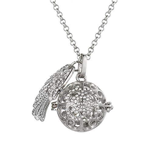 Ätherisches Öl Diffusor Halsketteflügel Mit Diamant Aromatherapie Ätherisches Öl Piano Sound Perlenkette Kann Glas Kugel Aromatherapie Halskette-B Setzen