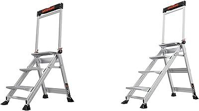 Little Giant Ladders, Jumbo Step, 3-Step, 2 Foot, Step Stool, Aluminum & Little Giant Ladders, Jumbo Step, 4-Step, 3 Foot, Step Stool, Aluminum, Type 1AA, 375 lbs Weight Rating, (11904)