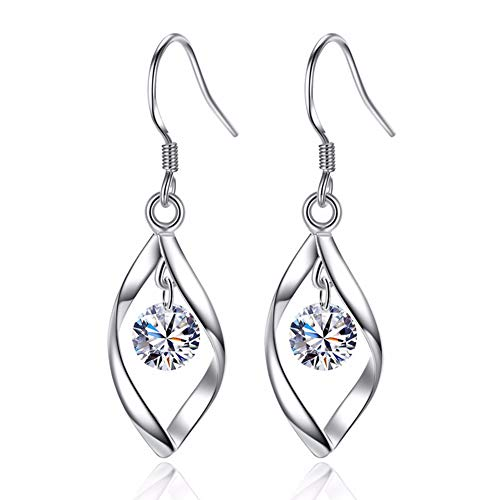 Zolkamery Women's Earrings 925 Sterling Silver Twist Dangle Drop Hook Earring with White Round Cubic Zirconia Allergy Free Wedding Engagement Party Christmas Thanksgiving Jewellery Passt Evening Dress