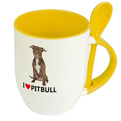digital print Hundetasse Pitbull - Löffel-Tasse mit Hundebild Pitbull - Becher, Kaffeetasse, Kaffeebecher, Mug - Gelb