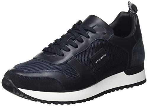 Antony Morato Sneaker Run Metal in Nylon E Pelle, Scarpe con Lacci Uomo, Ink Blu, 43 EU
