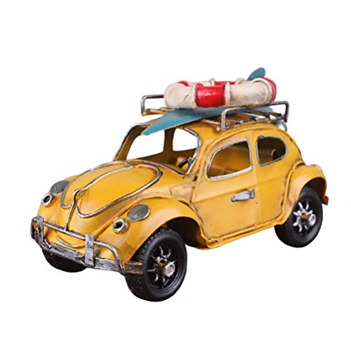 Hzkj-lym Desktop Crafts Oldtimer-Modell Retro Eisen Käfer, Figuren Modell antike Fertigkeit Käfer Fahrzeug Statue Collectibles Home Decor (Color : Yellow)