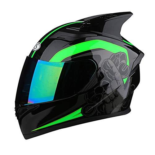 Sebasty Integralhelm, Motorradhelm, vier Jahreszeiten, Integralhelm, bunte Gläser, Doppelgläser, modisch, atmungsaktiv, Sicherheitseckenhelm (Farbe: Farbe, Größe: XXXL)