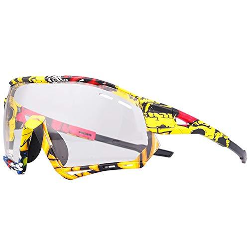 AEF Hombre Mujer Gafas Sol Deportivas Polarizadas Gafas De Ciclismo Viene con 3 Lentes Intercambiables Protección UV Protección Seguridad Gafas Usado para Ciclismo Pescar Conducir,5