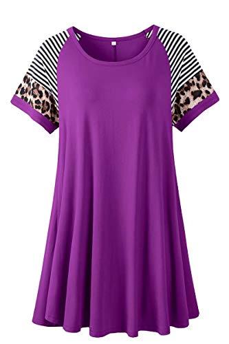 LARACE Leopard Print Tops for Women Short Sleeve Plus Size Tunic Striped Long Tee Shirt for Leggings(Deep Purple 3X)