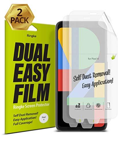 Ringke Dual Easy Film [2 Stück] Kompatibel mit Google Pixel 4 Schutzfolie Hohe Auflösung [Wischfest Beschichtung] Einfache Befestigen Displayschutz