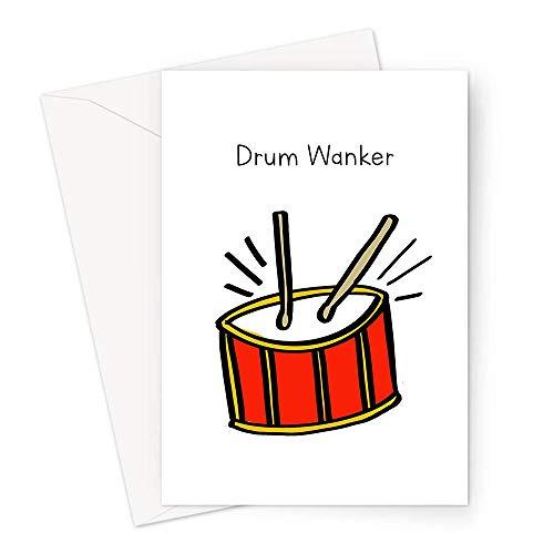 Schlagzeug-Grußkarte | Riesige A4 oder Standard Deadpan Doodle Geburtstagskarte für Schlagzeuger, Musiker Geburtstagskarte, lustige Witzige Schlagzeug-Karte
