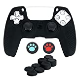 PS5 Controller Grip Cover, HengLiSam Anti-Slip Silicone Skin Protective Cover Case for Playstation 5 DualSense Wireless Controller with 8 Thumb Grip Caps+2Cat paw Caps (Black)