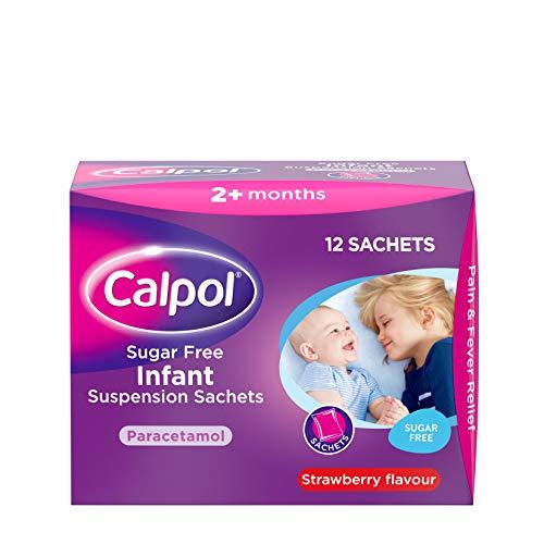 Calpol Sugar Free Infant Suspension Sachets Strawberry Flavour 2+ Months, 12 x 5ml