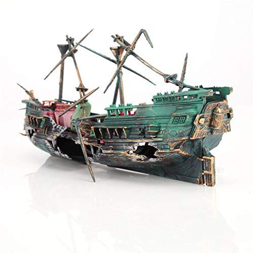 Guooe Aquarium Deko, Aquarium Künstliche Versunkene Wrack Schiff Dekoration Aquarium Air Split Destroyer Boot Wrack Dekoration Mit Luft-Sauerstoff-Pumpe Verwendet