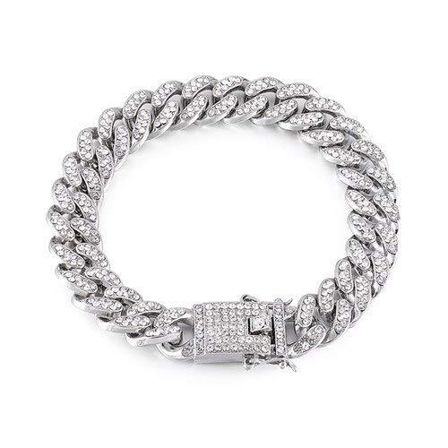 BJGCWY 1 Juego de Collares de Cadena de bordillo de Diamantes de imitación pavimentados de Oro de 13 mm para Hombres, joyería, Pulsera de Plata de 20 Pulgadas (50 cm)