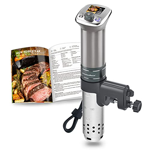 Sous Vide Cooker Ultra-Quiet: Color LCD Recipes   IPX7 Waterproof circulator cooker   Brushless DC motor   1100 Watts Immersion Circulator   Include Cookbook by KitchenBoss