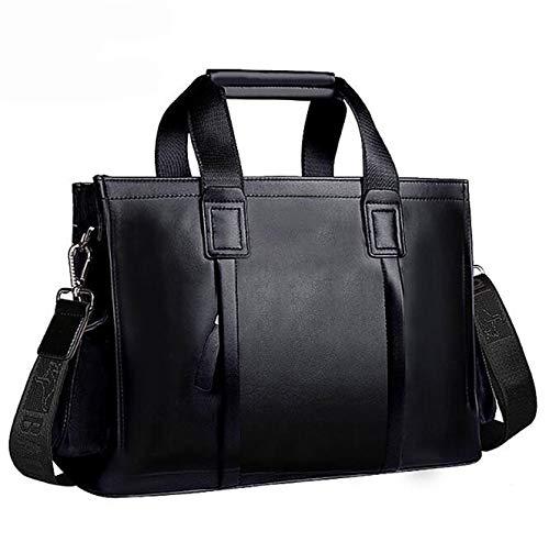 Getrichar Men's Handbag Shoulder Bag Business Casual Briefcase Men's Soft Leather Delicate Fashion Crossbody Bag (Color : Black, Size : 38 * 12 * 27cm)