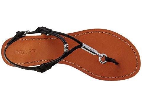 COACH Women's Cicily Black Pebble Grain Leather Sandal 5 M