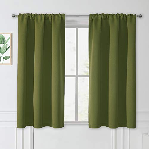 45 Inch Kitchen Curtains - 38W x 45L Olive Green Blackout Curtains Rod Pocket Draperies Light Block Privacy Protect for Bedroom Bathroom Windows Short Shade Blinds, 1 Pair