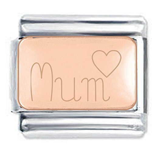 Mum Heart Engraved Charm in Rose Gold Plate finish Fits all 9mm Italian Style Charm Bracelets