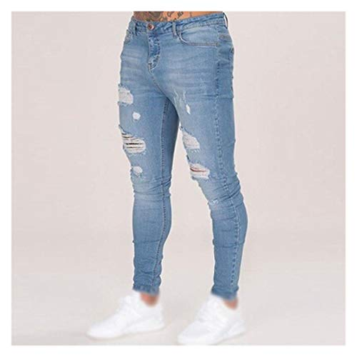 QZXQW Vaqueros de mezclilla para hombre casuales Hombres Denim Jeans Slim Pinkle Jeggings Pantalones de mezclilla Estirar Denim Pantalones Hombre Casual Slim-Fit Ripped Pinte...