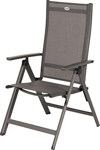 Hartman Aruba stilvoller Multipositionssessel in Xerix und Anthrazit, solides Aluminiumgestell, Sitzfläche aus hochwertigem Textilen, 73 x 62,5 x 112,5 cm, Rückenlehne 7-Fach verstellbar, wetterfest